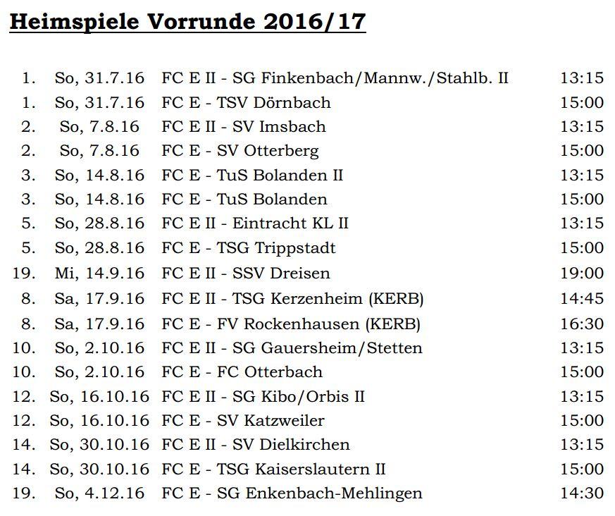Heimspiele Vorrunde 16-17