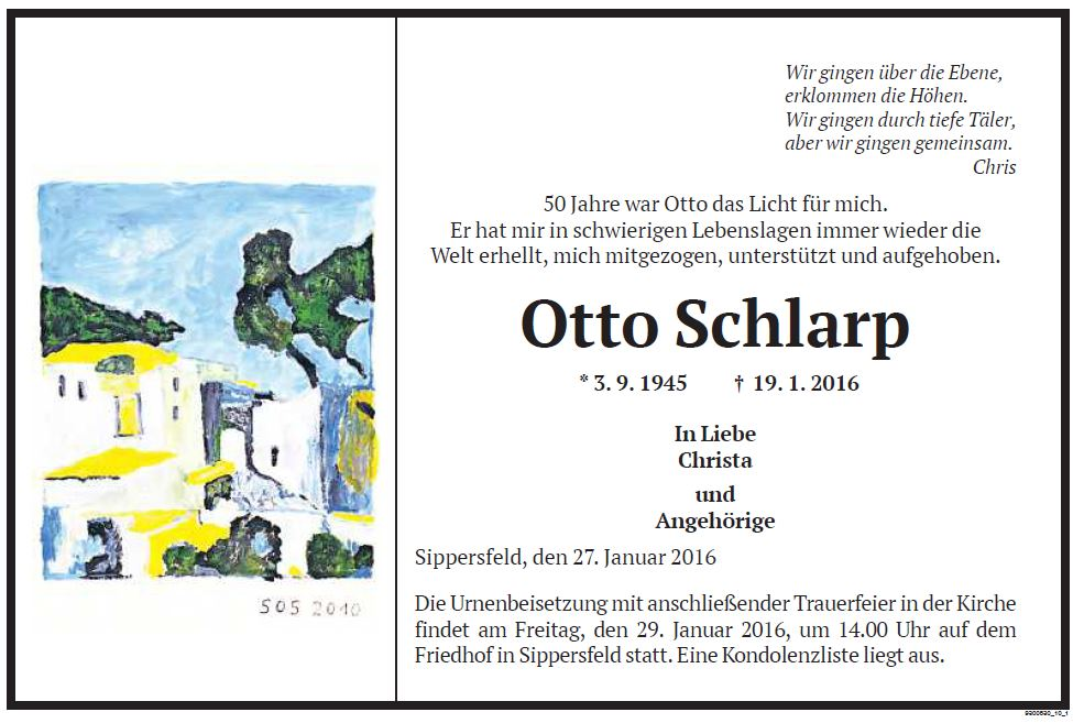 Otto Schlarp Trauer