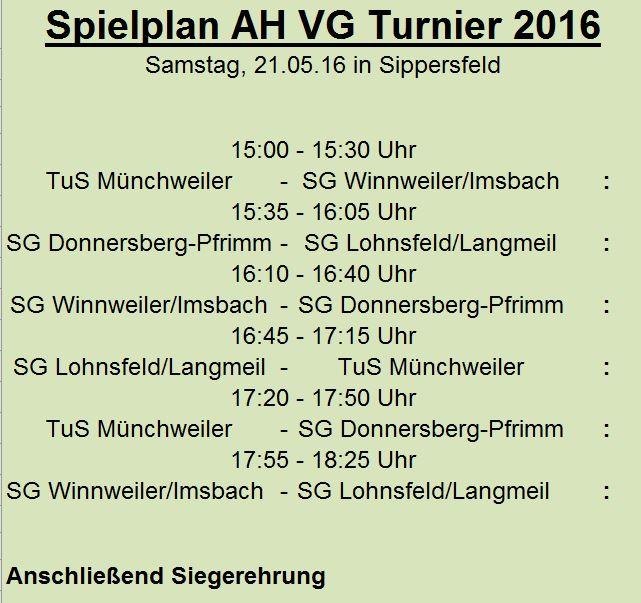 Spielplan VG Turnier 2016