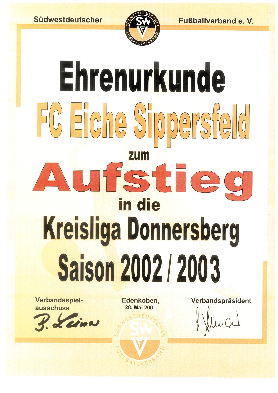 Urkunde Aufstieg 2003