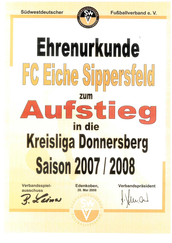 Urkunde Aufstieg 2008