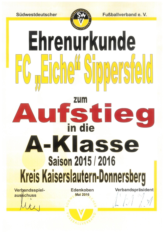 Urkunde Aufstieg 2016